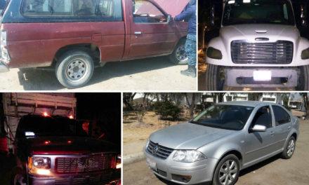 Asegura Policía Estatal cuatro vehículos con reporte de robo en región de Ixmiquilpan