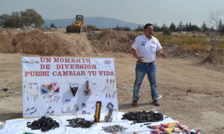 FUERON DECOMISADOS 30 KILOGRAMOS DE PIROTECNIA POR PROTECCIÓN CIVIL Y BOMBEROS DE TEPEJI DEL RÍO.