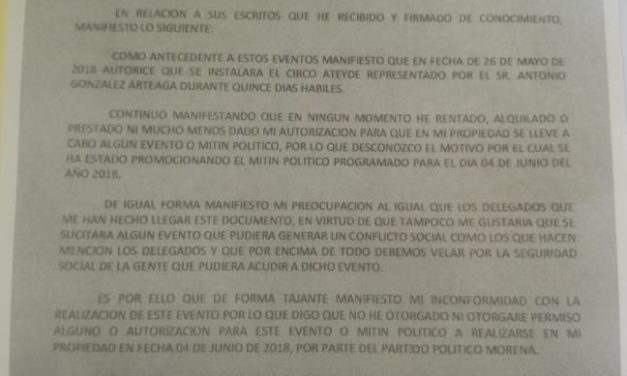 Alcaldía de Ixmiquilpan otorgó permiso para mitin de AMLO en Jardín Principal