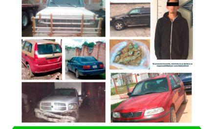 Recupera Policía Estatal cinco autos robados  y asegura probable droga en Nopala
