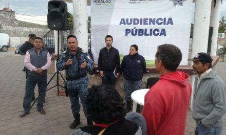Policía Estatal implementa audiencias públicas en colonias y comunidades de Hidalgo
