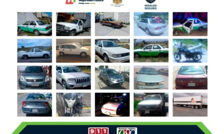 Recupera Policía Estatal 20 vehículos con reporte de robo en zona metropolitana de Pachuca