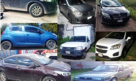 Elementos de la PGJEH aseguraron ocho vehículos con reporte de robo y alteraciones en sus medios de identificación