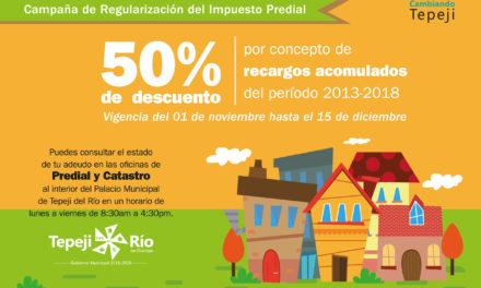 Habrá 50% de descuento en recargos acumulados con  la campaña de regularización del impuesto predial en Tepeji del Río.