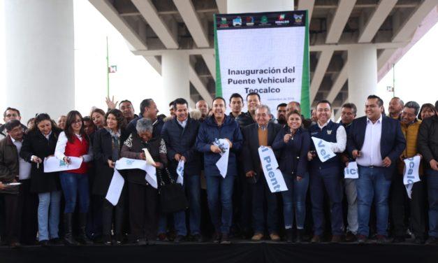 GOBERNADOR OMAR FAYAD INAUGURÓ PUENTE VEHICULAR TEOCALCO, OBRA ESPERADA POR 40 AÑOS