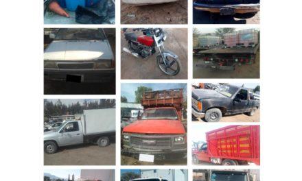Recupera SSPH 14 vehículos con  reporte de robo en región de Tepeji