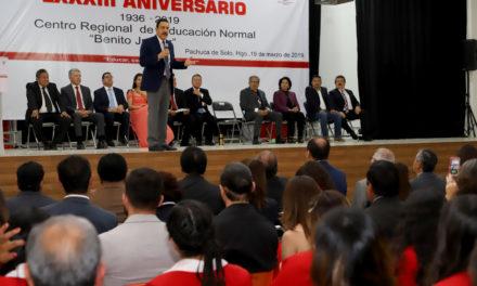 RECONOCE EL GOBERNADOR LA IMPORTANCIA DE LA EDUCACIÓN NORMAL  EN EL DESARROLLO DE MÉXICO Y SUS ENTIDADES